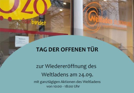 Einladungsflyer zum Tag der offenen Tür im Weltladen im Rahmen der Wiedereröffnung